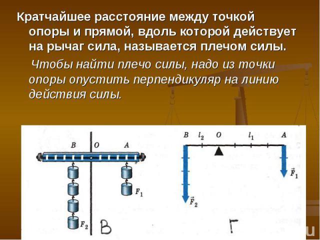 Кратчайшее расстояние между точкой опоры и прямой, вдоль которой действует на рычаг сила, называется плечом силы. Чтобы найти плечо силы, надо из точки опоры опустить перпендикуляр на линию действия силы.