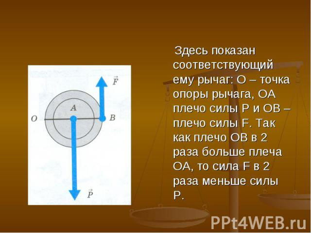 Здесь показан соответствующий ему рычаг: O – точка опоры рычага, ОА плечо силы P и ОВ – плечо силы F. Так как плечо ОВ в 2 раза больше плеча ОА, то сила F в 2 раза меньше силы Р.
