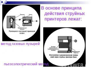 В основе принципа действия струйных принтеров лежат:метод газовых пузырейпьезоэл