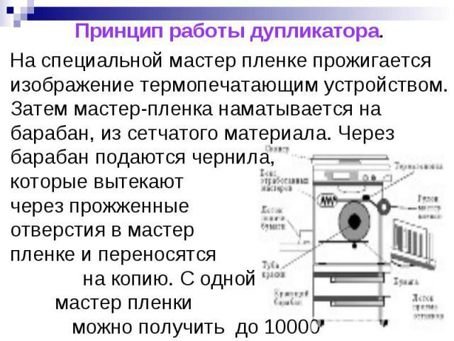 Принцип работы дупликатора. На специальной мастер пленке прожигается изображение термопечатающим устройством. Затем мастер-пленка наматывается на барабан, из сетчатого материала. Через барабан подаются чернила, которые вытекают через прожженные отве…