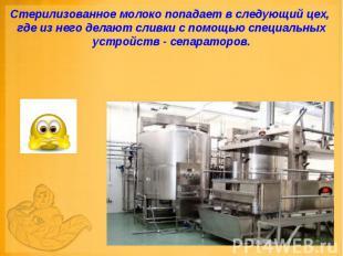 Стерилизованное молоко попадает в следующий цех, где из него делают сливки с пом