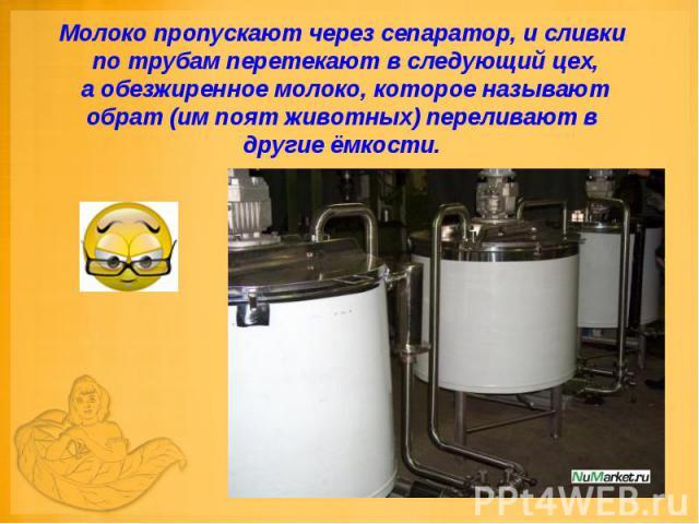 Молоко пропускают через сепаратор, и сливки по трубам перетекают в следующий цех, а обезжиренное молоко, которое называют обрат (им поят животных) переливают в другие ёмкости.