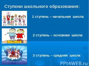 Ступени школьного образования: 1 ступень – начальная школа2 ступень – основная ш