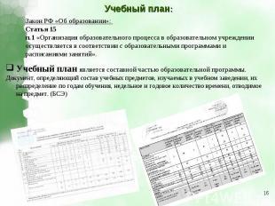 Учебный план:Закон РФ «Об образовании»: Статья 15 п.1 «Организация образовательн