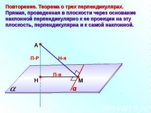 Повторение. Теорема о трех перпендикулярах.Прямая, проведенная в плоскости через