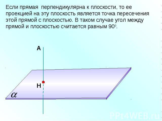 Если прямая перпендикулярна к плоскости, то ее проекцией на эту плоскость является точка пересечения этой прямой с плоскостью. В таком случае угол между прямой и плоскостью считается равным 900.
