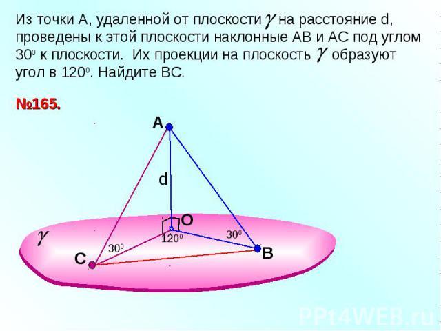 Из точки А, удаленной от плоскости на расстояние d, проведены к этой плоскости наклонные АВ и АС под углом 300 к плоскости. Их проекции на плоскость образуют угол в 1200. Найдите ВС.