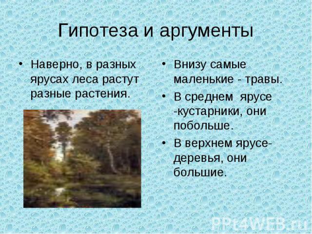 Гипотеза и аргументыНаверно, в разных ярусах леса растут разные растения.Внизу самые маленькие - травы.В среднем ярусе -кустарники, они побольше.В верхнем ярусе- деревья, они большие.