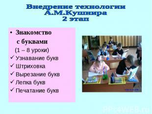 Внедрение технологииА.М.Кушнира2 этапЗнакомство с буквами (1 – 8 уроки)Узнавание