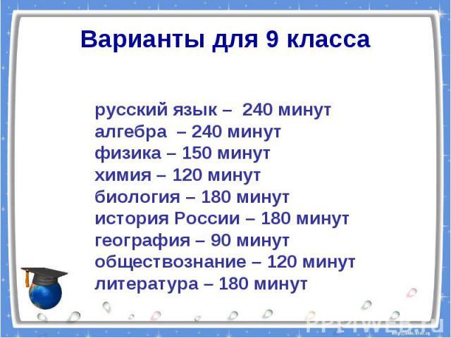 Варианты для 9 классарусский язык – 240 минуталгебра – 240 минутфизика – 150 минутхимия – 120 минутбиология – 180 минутистория России – 180 минут география – 90 минутобществознание – 120 минутлитература – 180 минут
