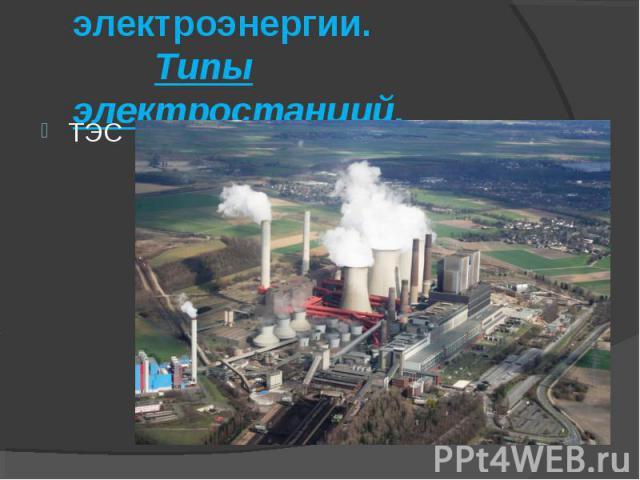 Производство электроэнергии. Типы электростанций.