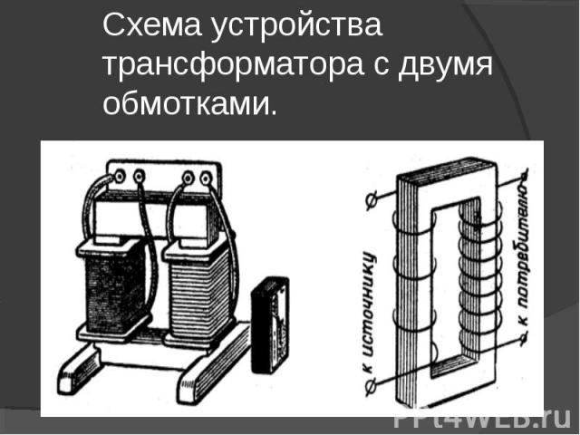 Схема устройства трансформатора с двумя обмотками.