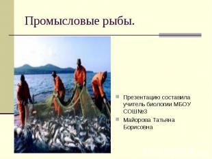 Промысловые рыбы. Презентацию составила учитель биологии МБОУ СОШ №3 Майорова Та
