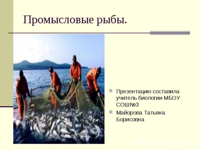 Промысловые рыбы. Презентацию составила учитель биологии МБОУ СОШ №3 Майорова Татьяна Борисовна