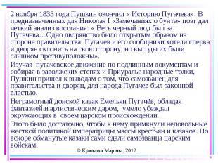 2 ноября 1833 года Пушкин окончил « Историю Пугачева». В предназначенных для Ник
