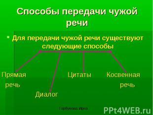 Способы передачи чужой речиДля передачи чужой речи существуют следующие способыП