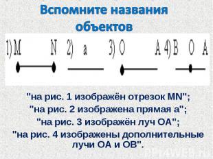 """Вспомните названияобъектов """"на рис. 1 изображён отрезок MN"""";""""на рис. 2 изображен"""