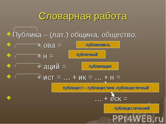 Словарная работаПублика – (лат.) община, общество. + ова = + н = + аций = + ист = … + ик = … + н = … + еск =