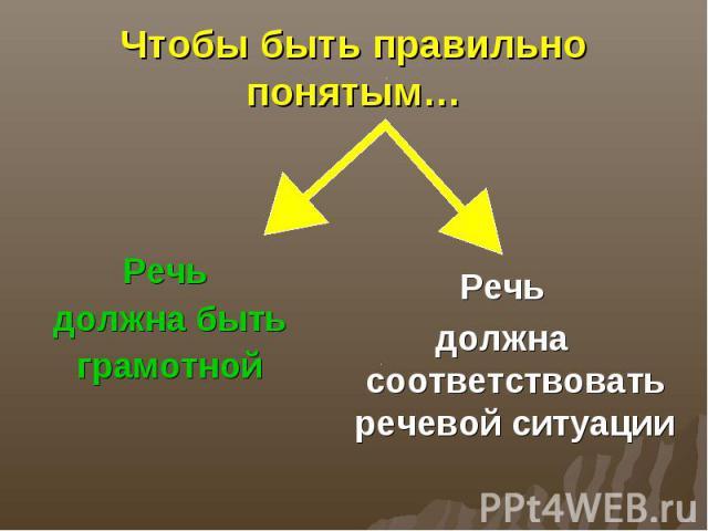 Чтобы быть правильно понятым…Речь должна бытьграмотнойРечьдолжна соответствовать речевой ситуации
