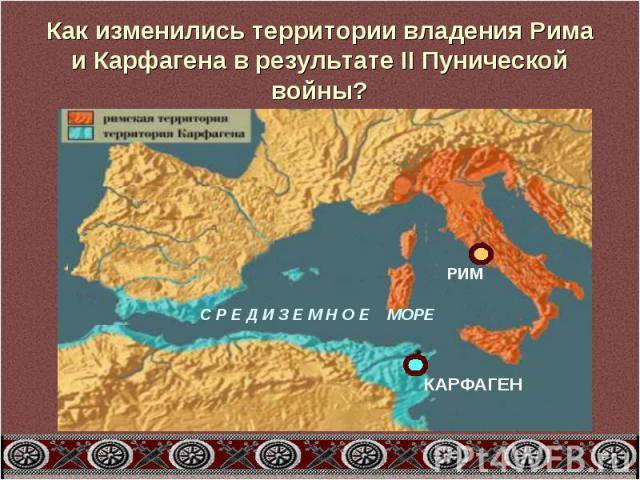 Как изменились территории владения Рима и Карфагена в результате II Пунической войны?