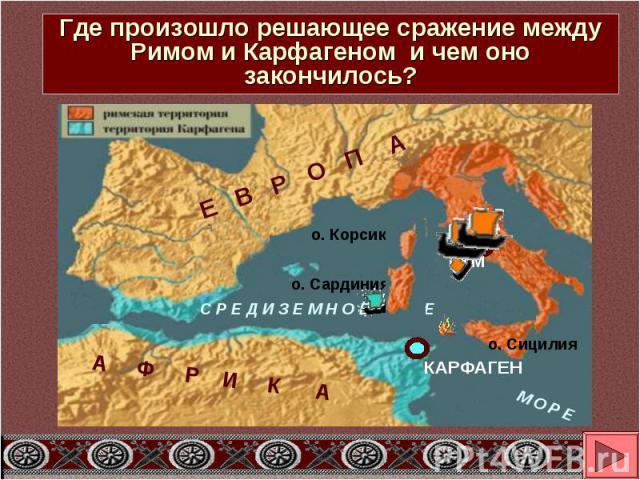 Где произошло решающее сражение между Римом и Карфагеном и чем оно закончилось?