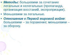 Методы: большевики за сочетание легальных и нелегальных (пропаганда, организация