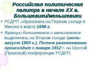 Российская политическая палитра в начале XX в.Большевики/меньшевикиРСДРП ,образо