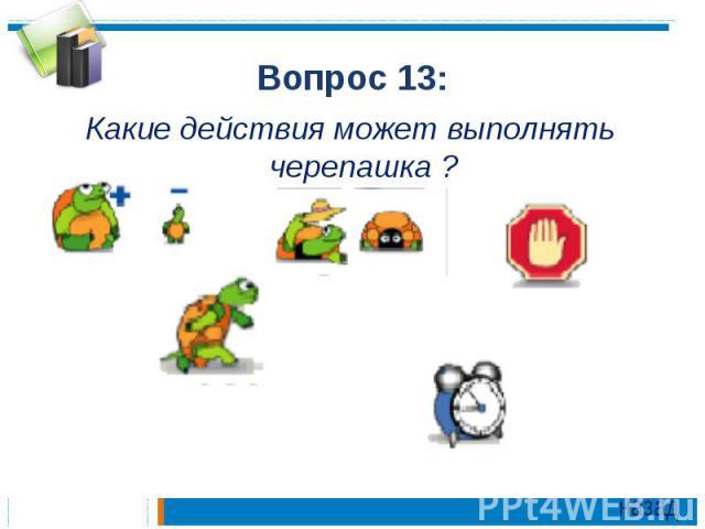 Вопрос 13:Какие действия может выполнять черепашка ?