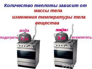 Количество теплоты зависит отмассы телаизменения температуры тела вещества
