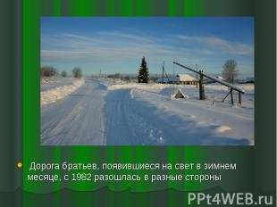 Дорога братьев, появившиеся на свет в зимнем месяце, с 1982 разошлась в разные с
