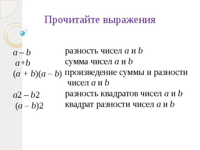 Прочитайте выраженияразность чисел а и bсумма чисел а и bпроизведение суммы и разности чисел а и bразность квадратов чисел а и b квадрат разности чисел а и b
