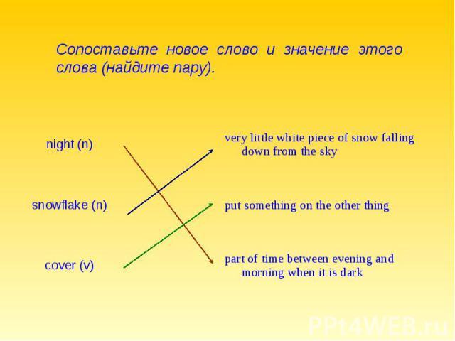 Сопоставьте новое слово и значение этого слова (найдите пару).