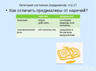 Категория состояния (предикатив)- стр.17Как отличить предикативы от наречий?