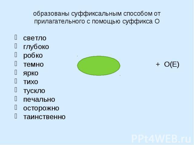 образованы суффиксальным способом от прилагательного с помощью суффикса Осветлоглубокоробко темно + О(Е)яркотихо тускло печальноосторожно таинственно
