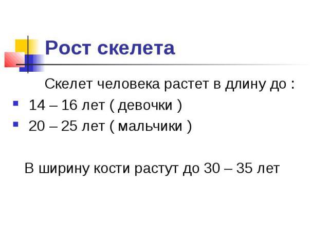 Рост скелета Скелет человека растет в длину до : 14 – 16 лет ( девочки ) 20 – 25 лет ( мальчики ) В ширину кости растут до 30 – 35 лет