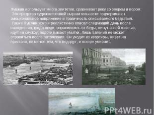 Пушкин использует много эпитетов, сравнивает реку со зверем и вором: Эти средств
