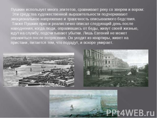 Пушкин использует много эпитетов, сравнивает реку со зверем и вором: Эти средства художественной выразительности подчеркивают эмоциональное напряжение и трагичность описываемого бедствия. Также Пушкин ярко и реалистично описал следующий день после н…