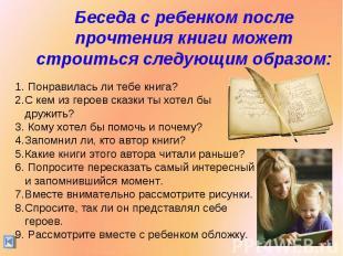 Беседа с ребенком после прочтения книги может строиться следующим образом: Понра