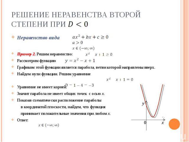 Решение неравенства второй степени при Неравенство видаПример 2. Решим неравенство:Рассмотрим функцию Графиком этой функции является парабола, ветви которой направлены вверх.Найдем нули функции. Решим уравнениеУравнение не имеет корней.Значит парабо…