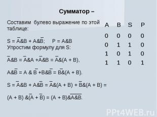 Сумматор – Cоставим булево выражение по этой таблице: _ _S = A&B + A&B; P = A&BУ