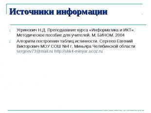 Источники информацииУгринович Н.Д. Преподавание курса «Информатика и ИКТ». Метод