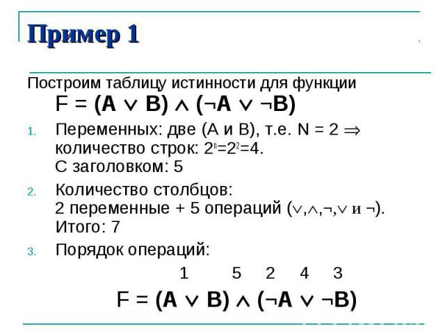 Пример 1Построим таблицу истинности для функции F = (А В) (¬A ¬B)Переменных: две (А и В), т.е. N = 2 количество строк: 2n=22=4. С заголовком: 5Количество столбцов: 2 переменные + 5 операций (,,¬, и ¬). Итого: 7Порядок операций: 1 5 2 4 3 F = (А В) (¬A ¬B)