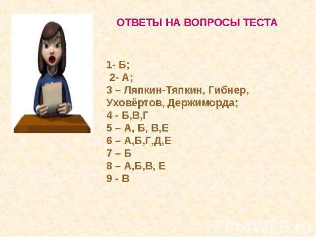 ОТВЕТЫ НА ВОПРОСЫ ТЕСТА1- Б; 2- А; 3 – Ляпкин-Тяпкин, Гибнер, Уховёртов, Держиморда; 4 - Б,В,Г5 – А, Б, В,Е6 – А,Б,Г,Д,Е7 – Б8 – А,Б,В, Е9 - В