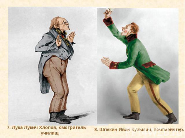 7. Лука Лукич Хлопов, смотрительучилищ8. Шпекин Иван Кузьмич, почтмейстер.