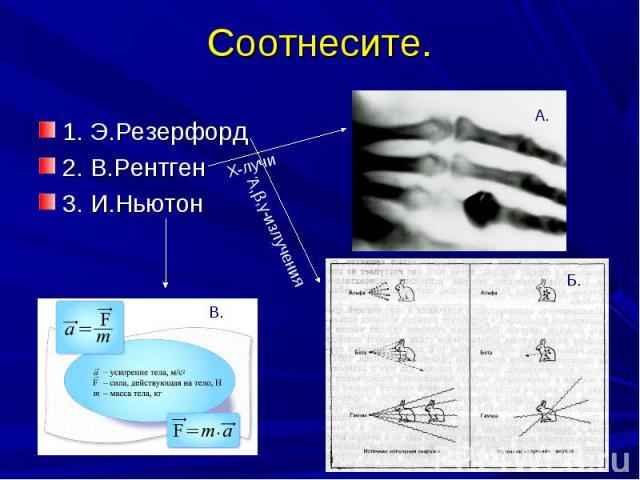 Соотнесите.1. Э.Резерфорд2. В.Рентген3. И.Ньютон