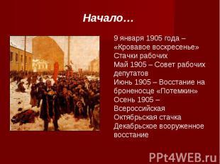 Начало…9 января 1905 года – «Кровавое воскресенье»Стачки рабочихМай 1905 – Совет