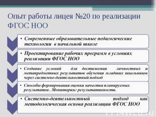 Опыт работы лицея №20 по реализации ФГОС НОО Современные образовательные педагог