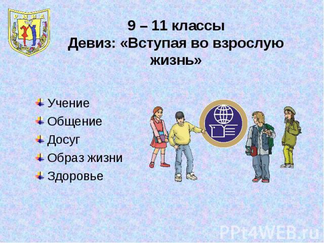 9 – 11 классыДевиз: «Вступая во взрослую жизнь»УчениеОбщениеДосугОбраз жизниЗдоровье