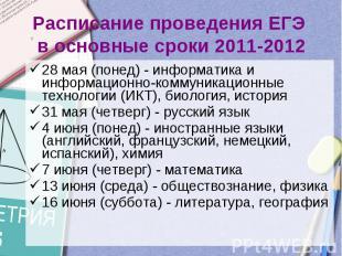 Расписание проведения ЕГЭ в основные сроки 2011-201228 мая (понед) - информатика