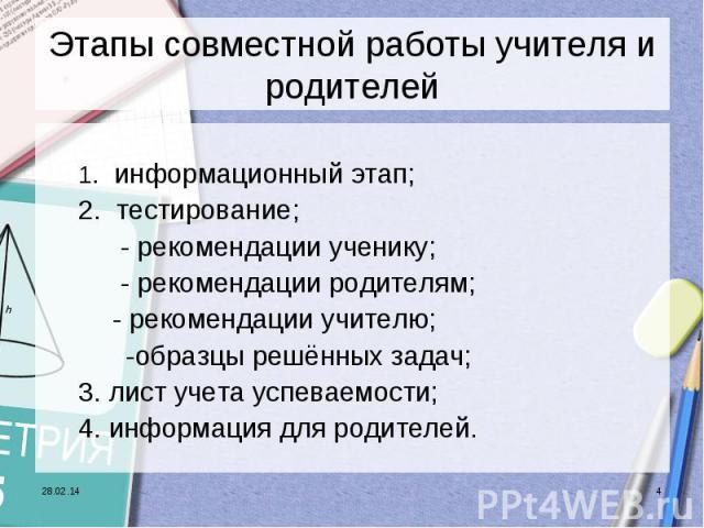 Этапы совместной работы учителя и родителей1. информационный этап;2. тестирование; - рекомендации ученику; - рекомендации родителям;- рекомендации учителю; -образцы решённых задач;3. лист учета успеваемости;4. информация для родителей.